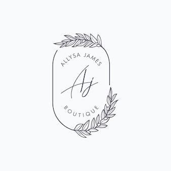 Szablon marki logo butiku kwiatowy