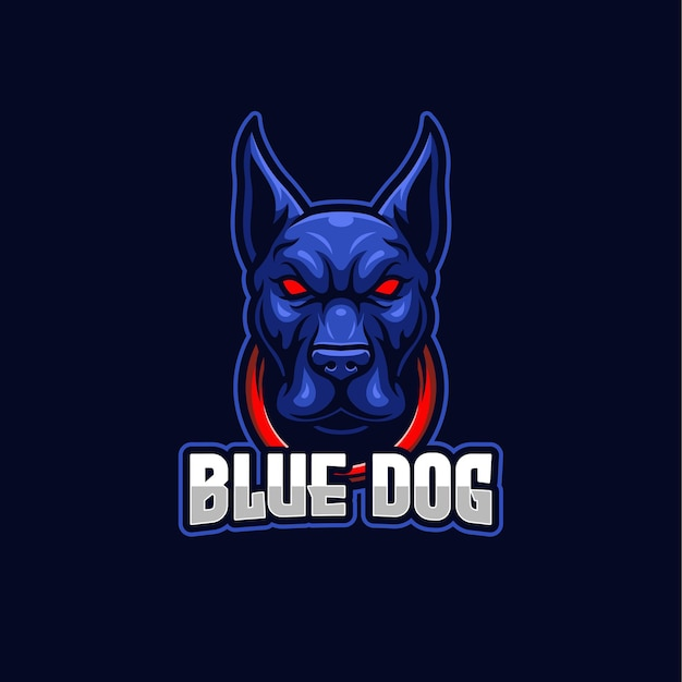 Szablon maskotka logo niebieski pies e-sport