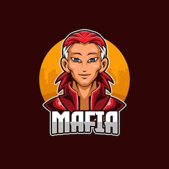 Szablon maskotki logo mafia esports