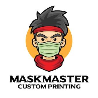 Szablon maskotki logo masker hero