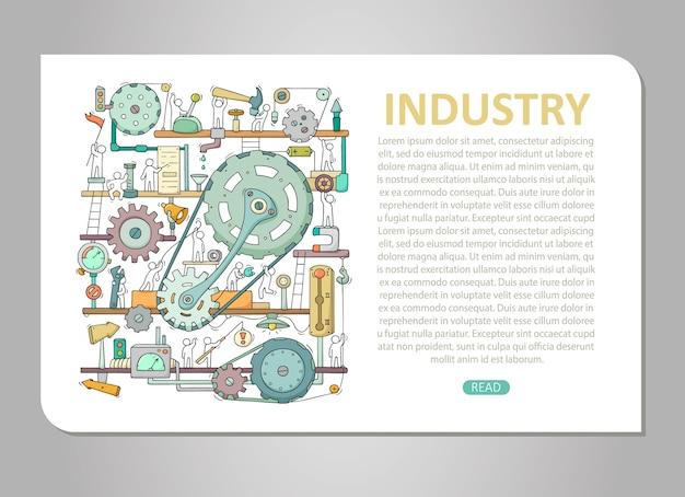 Szablon maszyny z miejscem na tekst. doodle kreskówka mechanizm z ludźmi i zębatkami. ręcznie rysowane ilustracja do projektowania biznesu i przemysłu na białym tle.