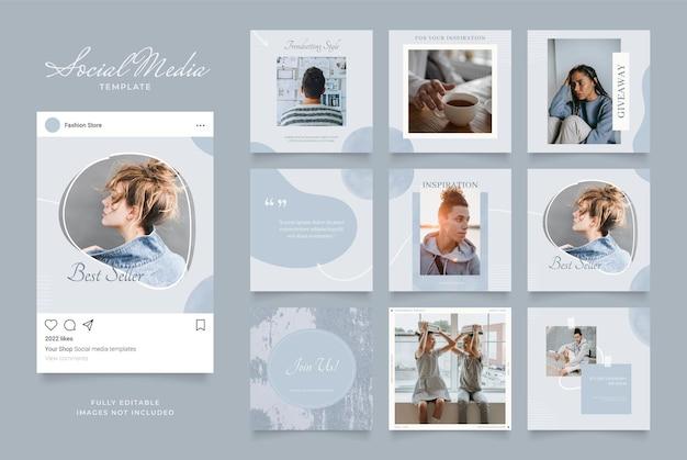 Szablon mediów społecznościowych baner blog promocja sprzedaży mody. w pełni edytowalny kwadratowy plakat z ramką do układanki organicznej sprzedaży. niebieski granatowy szary tło wektor