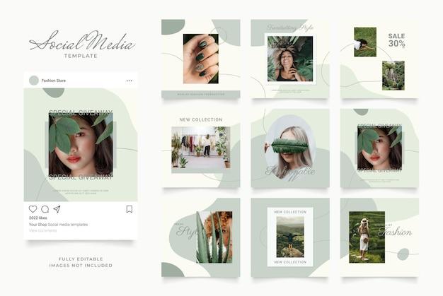 Szablon mediów społecznościowych baner blog promocja sprzedaży mody. w pełni edytowalny kwadratowy plakat z ramką do układanki organicznej sprzedaży. zielone białe tło wektor
