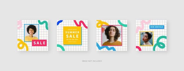 Szablon mediów społecznościowych modny edytowalny szablon postu w mediach społecznościowych makieta na białym tle projekt szablonu