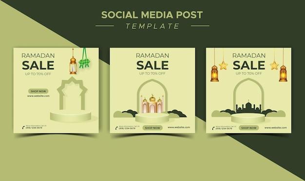 Szablon mediów społecznościowych, promocja baneru sprzedaży ramadanu z podium