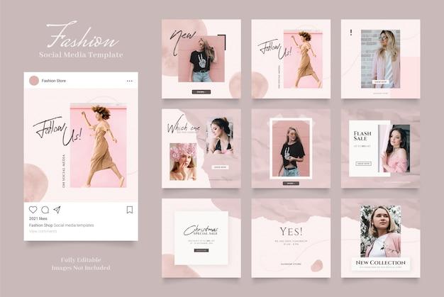 Szablon mediów społecznościowych promocja sprzedaży mody banner. puzzle ramki pocztowej czerwony różowy biały kolory