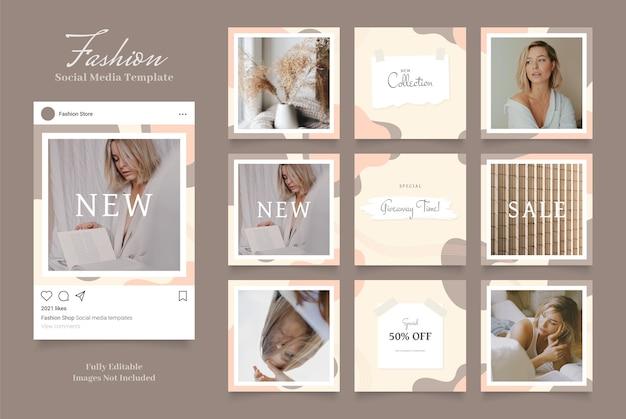Szablon mediów społecznościowych promocja sprzedaży mody. brązowy khaki biały