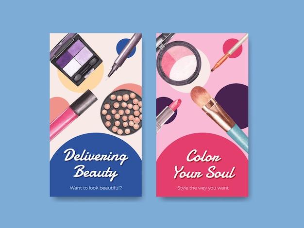 Szablon mediów społecznościowych z koncepcją makijażu dla mediów społecznościowych i akwareli społeczności.