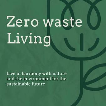 Szablon mediów społecznościowych zero waste w tonacji ziemi