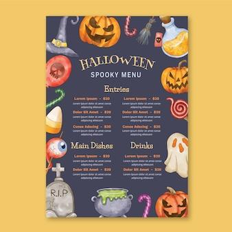 Szablon menu akwarela halloween