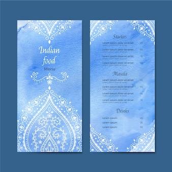 Szablon menu akwarela tradycyjnej indyjskiej restauracji