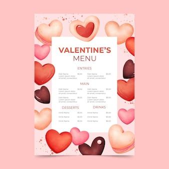 Szablon menu akwarela walentynki