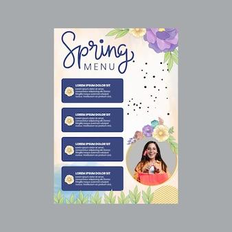 Szablon menu akwarela wiosna