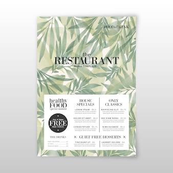 Szablon menu akwarela zdrowej żywności
