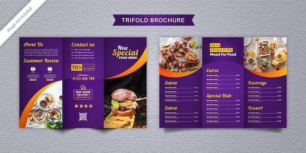 Szablon menu broszury potrójnej żywności