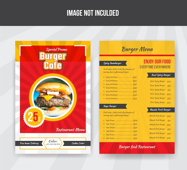 Szablon menu burger cafe food dla restauracji