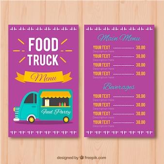 Szablon menu ciężarówka fioletowy żywności