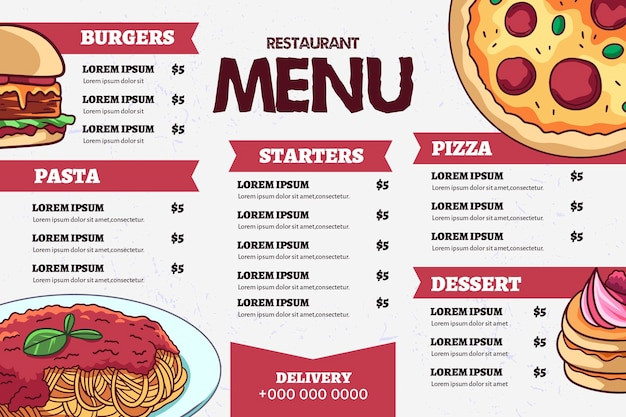 Szablon menu cyfrowego fast food