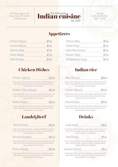 Szablon menu cyfrowej restauracji