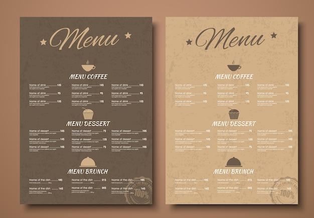 Szablon menu dla kawiarni