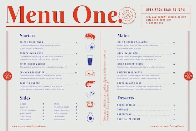 Szablon menu do użytku cyfrowego