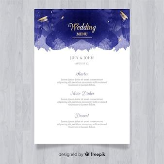 Szablon menu elegancki ślub akwarela