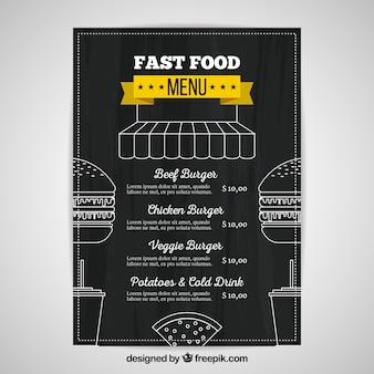 Szablon menu fast food w stylu tablica