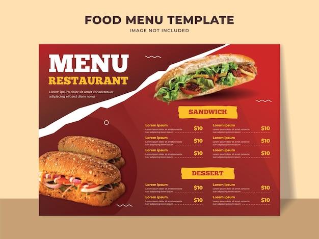 Szablon menu fast food z menu kanapek, deserem i innymi pozycjami menu