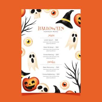 Szablon menu festiwalu halloween
