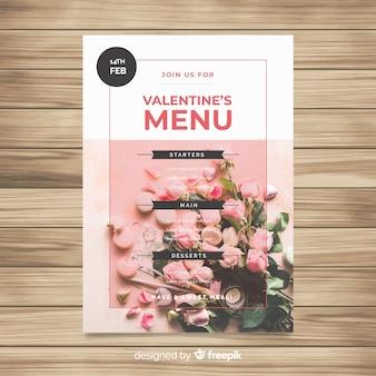 Szablon menu fotograficzne valentine