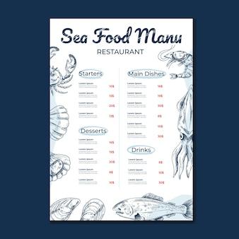 Szablon menu głównego z owocami morza makieta do projektowania kawiarni i restauracji do druku