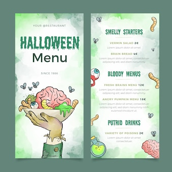 Szablon menu halloween akwarela