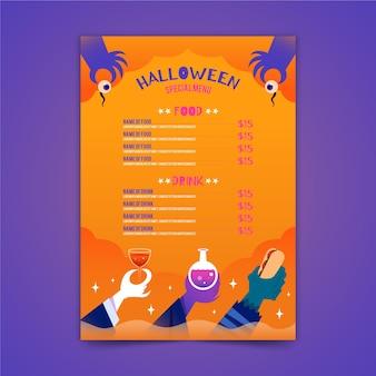 Szablon menu halloween w płaskiej konstrukcji