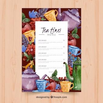 Szablon menu herbaty do herbaciarni