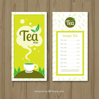 Szablon menu herbaty w stylu płaski