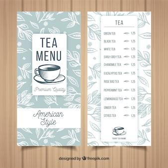 Szablon Menu Herbaty Z Napojami Darmowych Wektorów