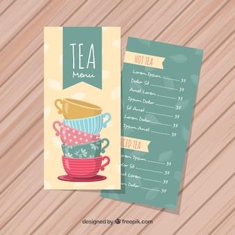 Szablon menu herbaty z płaskiej konstrukcji