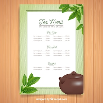 Szablon menu herbaty z realistycznym wystrojem