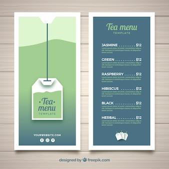 Szablon menu herbaty z różnymi napojami