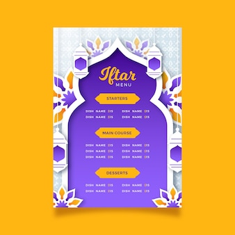 Szablon menu iftar w stylu papierowym