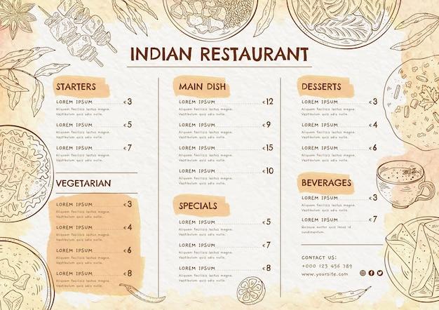 Szablon menu indyjskiego akwarela