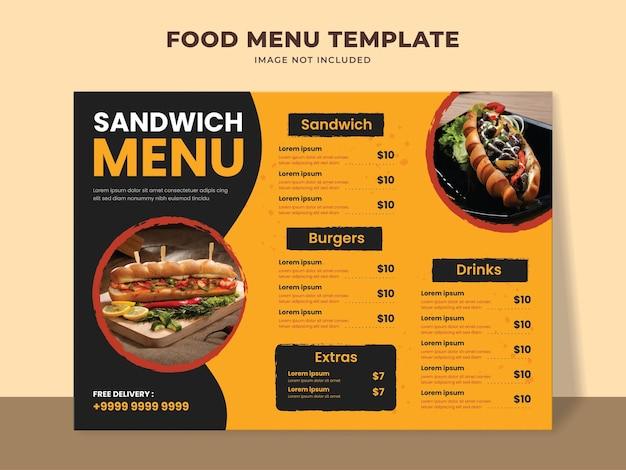 Szablon menu kanapki dla restauracji typu fast food