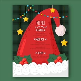 Szablon menu kapelusz świętego mikołaja z wiszącymi gwiazdami