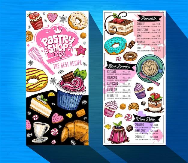 Szablon menu kawiarni cukierni. etykieta projektu kolorowe logo, godło. napis, słodycze, ciasta, rogaliki, cukierki, kolorowe ciasteczka, powitalny, kawa, bazgroły, pyszne.