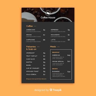 Szablon menu kawy
