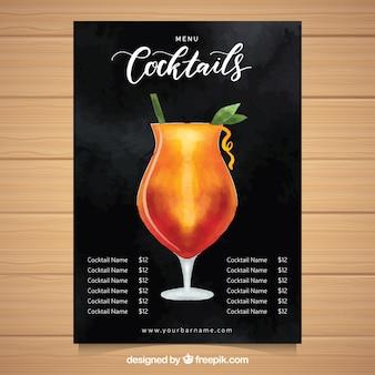 Szablon menu koktajli w stylu przypominającym akwarele