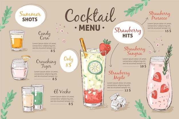 Szablon menu koktajli