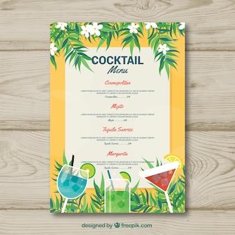 Szablon menu koktajlowe w płaskiej konstrukcji