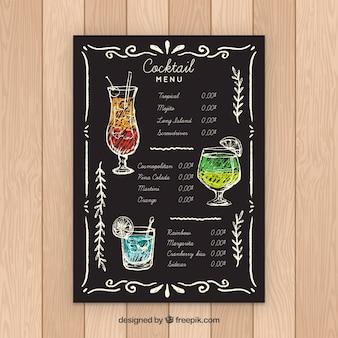 Szablon menu koktajlowe w stylu tablica