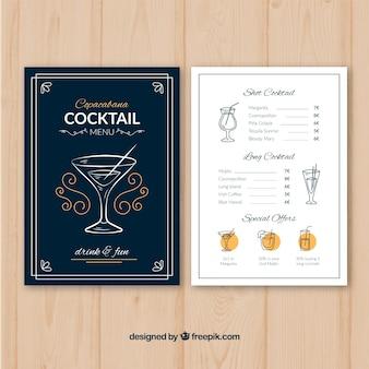 Szablon menu koktajlowe z płaska konstrukcja